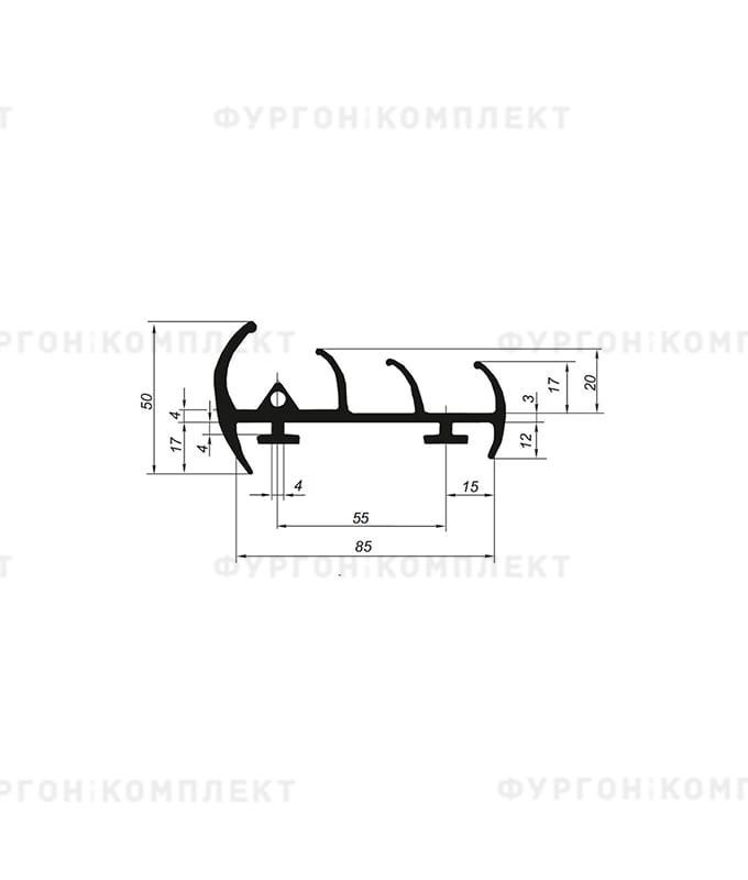 Уплотнитель резиновый → 85мм (3лепестка)