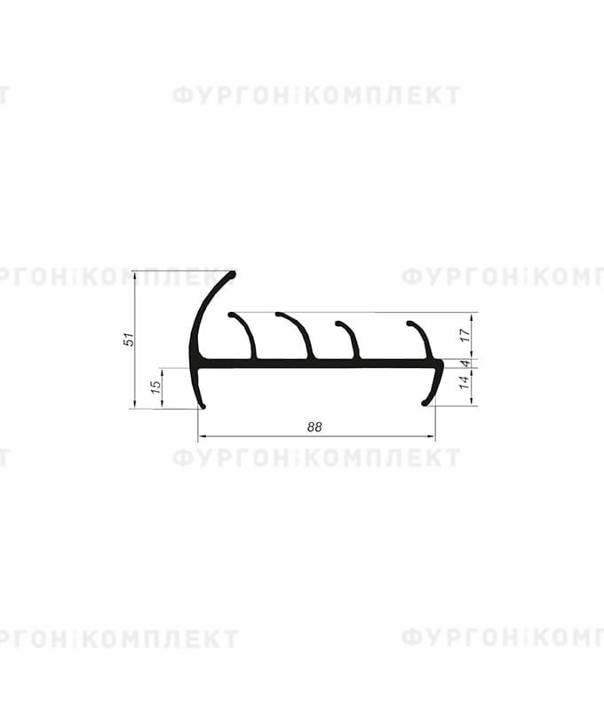 Уплотнитель резиновый → 88мм (4лепестка)