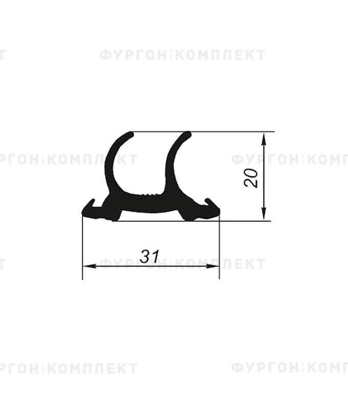Уплотнитель резиновый для дверей рефрижератора → 31×20мм