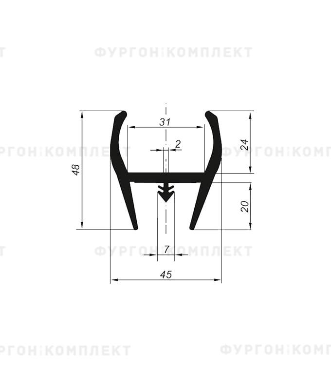 Уплотнитель резиновый для дверей рефрижератора → 45×48мм