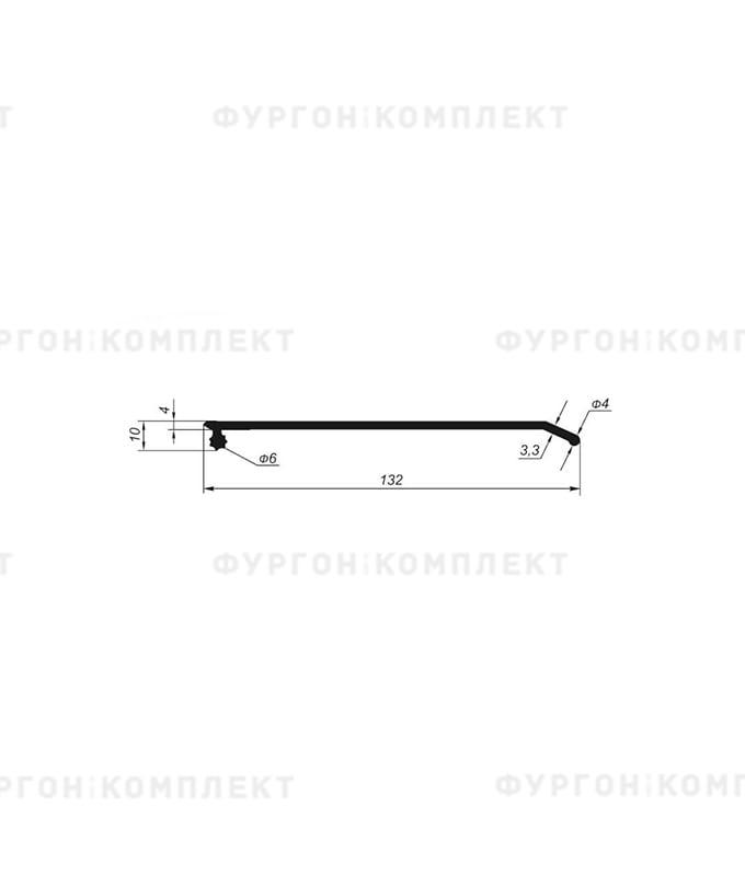 Уплотнитель резиновый для сдвижных крыш (132мм, сбоковым замком, длина 14м)