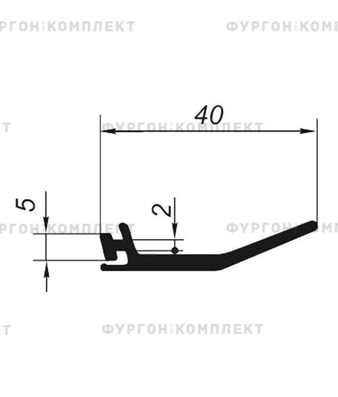 Уплотнитель внешний для сдвижного тента (размер 40 мм)