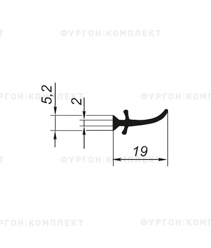 Уплотнитель для сдвижного тента → 19мм, внутренний