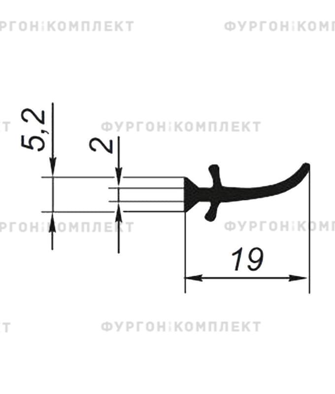 Уплотнитель внутренний для сдвижного тента (размер 19 мм)