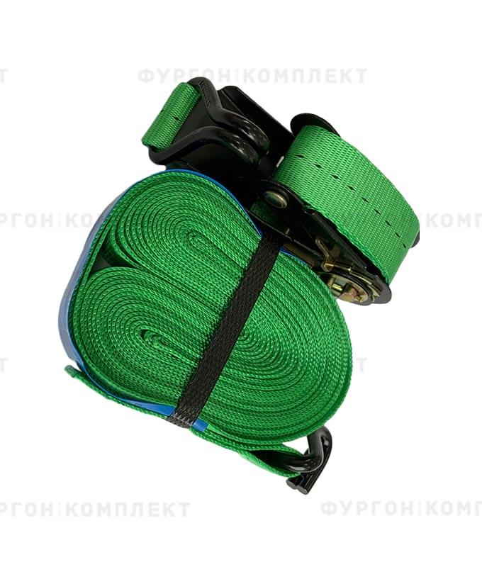 Зелёный стяжной ремень скрюками (ширина 25мм, до 1т)