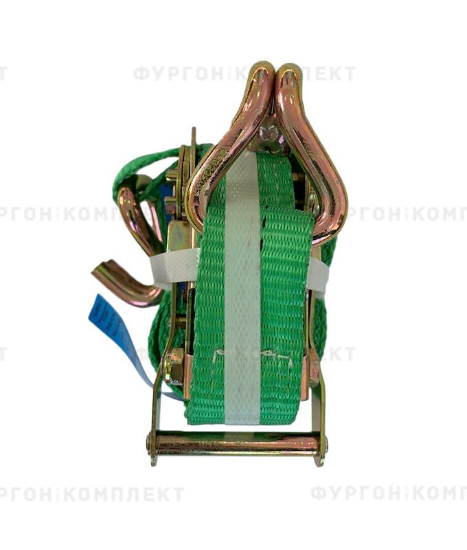 Зелёный стяжной ремень скрюками (ширина 35мм, до3-6т)